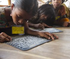 It starts from a simple slate, where Shirina learns to construct her sentences
